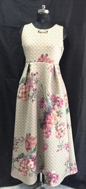 Flower Neoprene Long Gown