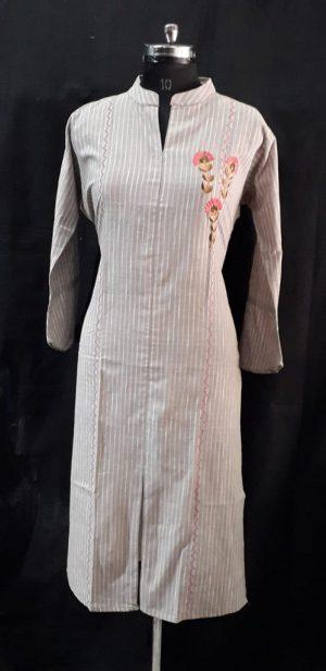 Grey Stripes Cotton Embroidered Kurti