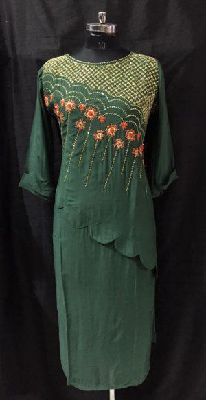 Green Muslin Embroidered Kurti
