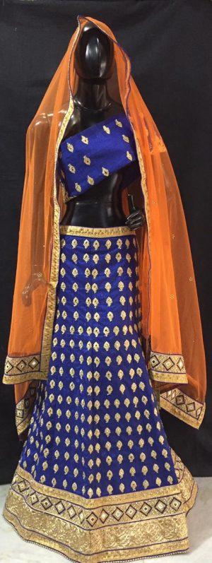 Blue Embroidered Lehenga Piece Set