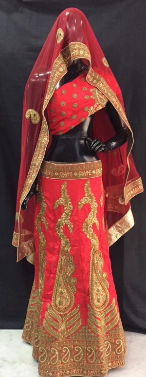 Red Embroidered Lehenga Piece Set