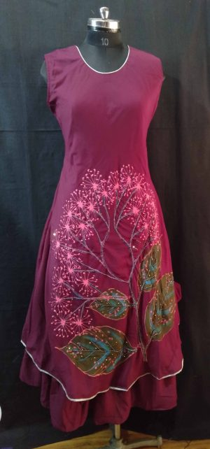 Maroon Embroidered Long Dress