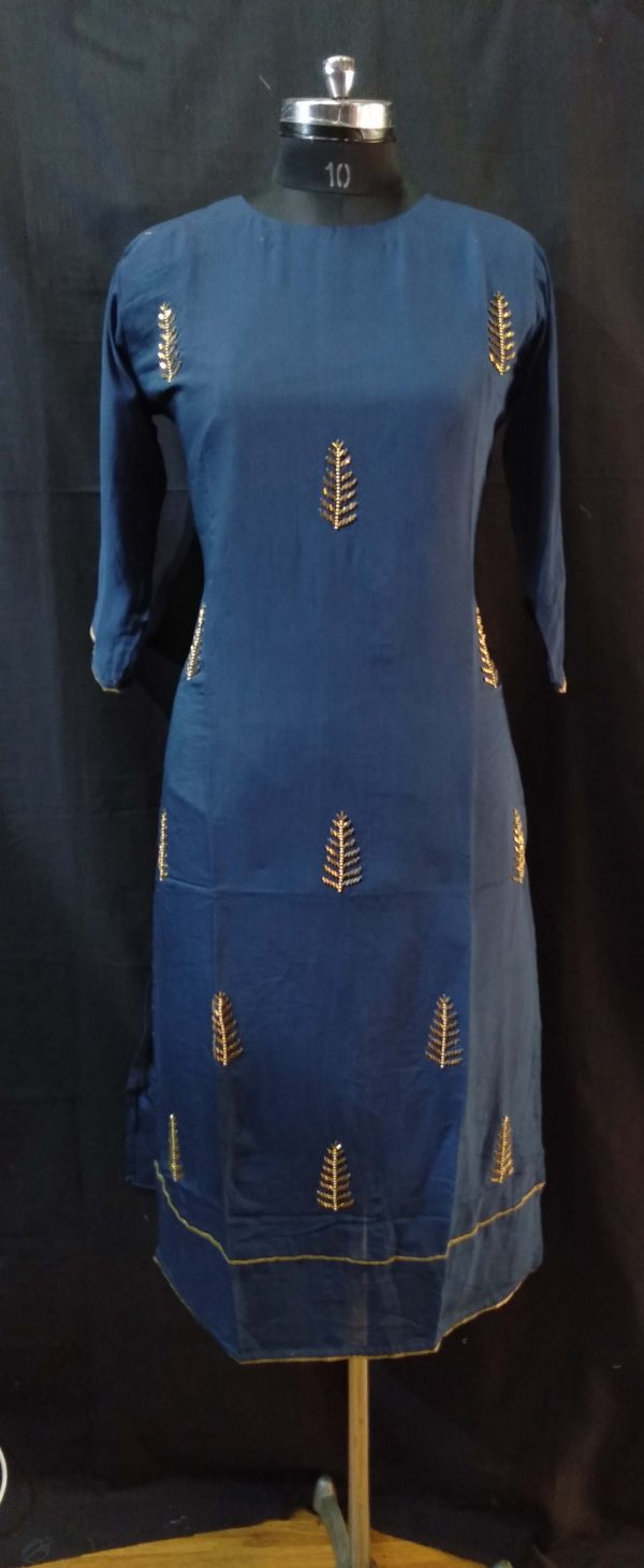Blue Embroidered Muslin Kurti