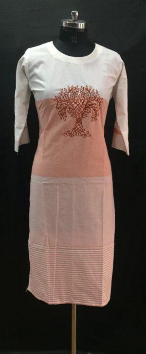 White Brown Thread Embroidered Cotton Kurti