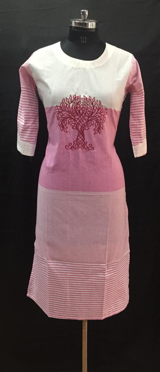 White Pink Thread Embroidered Cotton Kurti