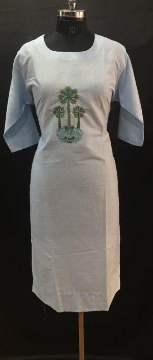 Sky Thread Embroidered Cotton Kurti