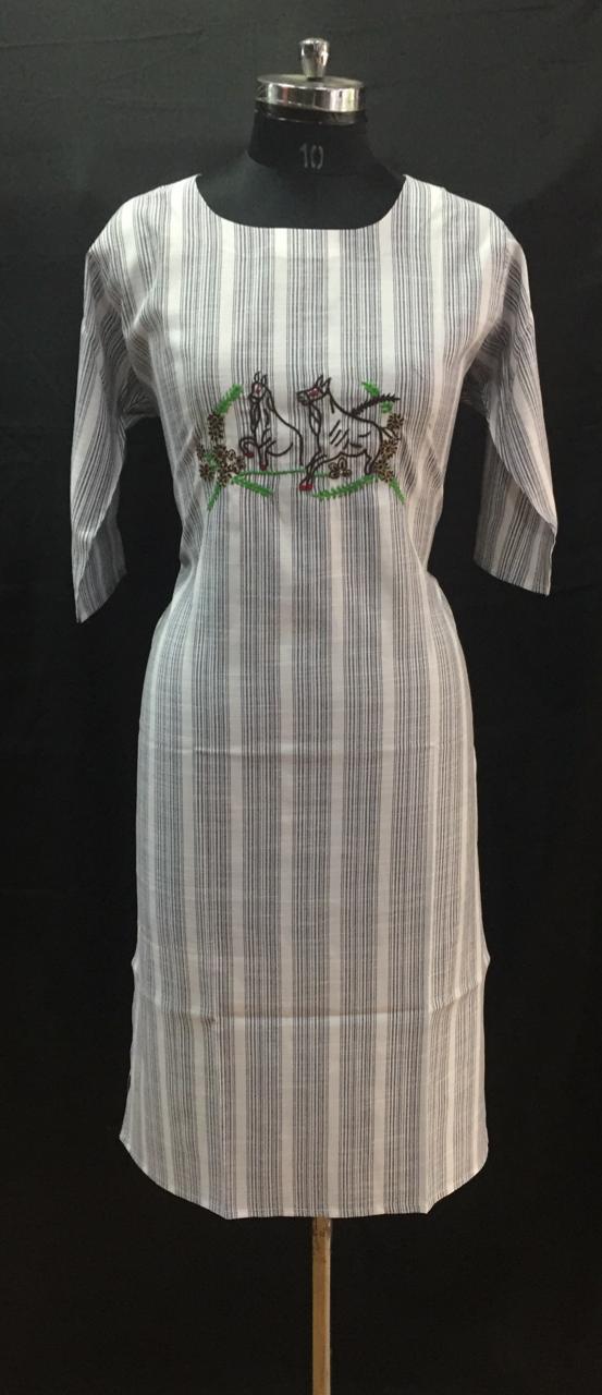 Grey Stripes Embroidered Cotton Kurti
