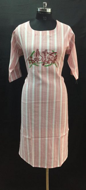 Red Stripes Thread Embroidered Cotton Kurti