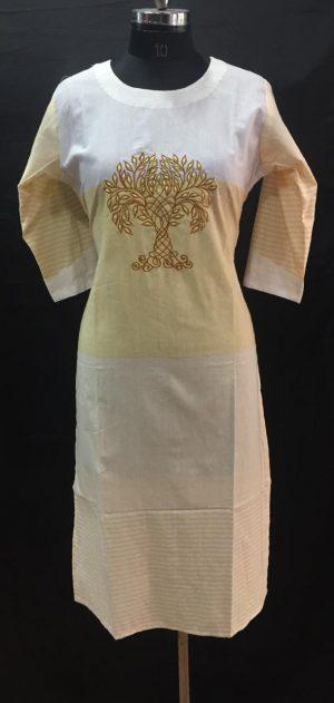 White Yellow Embroidered Cotton Kurti