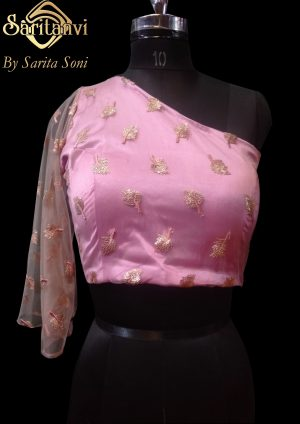 Pink Satin Embroidered Padded Blouse